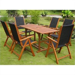 International Caravan Berga 7 Piece Wood Patio Dining Set in Natural
