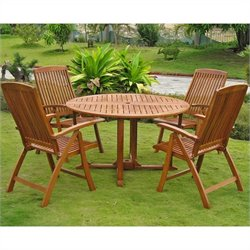 International Caravan Teruel 5 Piece Wood Patio Dining Set in Natural