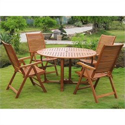 International Caravan Requena 5 Piece Wood Patio Dining Set in Natural