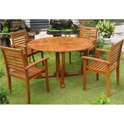 International Caravan Santiago 5 Piece Wood Patio Dining Set