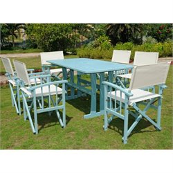 International Caravan 7 Pc Patio Dining Set in Natural and Blue