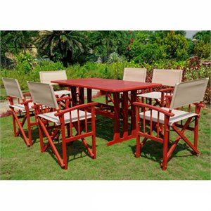 International Caravan Milazzo 7 Pc Patio Dining Set in Natural and Red