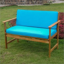 International Caravan Patio Bench in Natural and Aqua Blue
