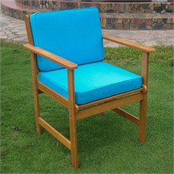International Caravan Royal Tahiti 2 Patio Chairs in Natural and Blue