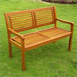 International Caravan Royal Tahiti Bar Harbor Patio Bench in Natural