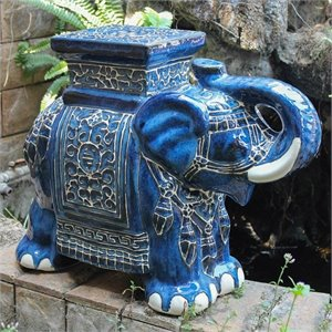 International Caravan Bombay Large Stool in Dark Blue