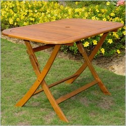 International Caravan Rectangular Folding Table in Natural Stain
