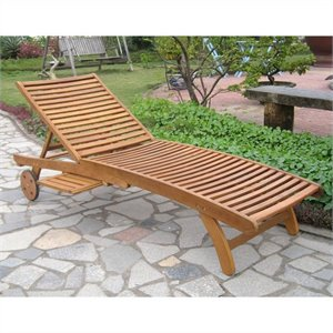 International Caravan Royal Fiji Patio Chaise Lounge in Natural Stain