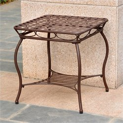 International Caravan Santa Fe Nailhead Patio Side Table in Matte Brown