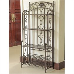 International Caravan Mandalay Iron Bakers Wine Rack in Matte Brown