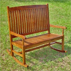 International Caravan Highland Loveseat Patio Rocker in Stain