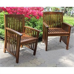 International Caravan Highland Acacia Deep-seated Patio Dining Chair (Set of 2)