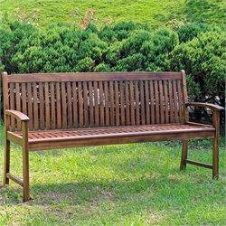 International Caravan Highland Hudson 3 Seater Garden Bench in Stain