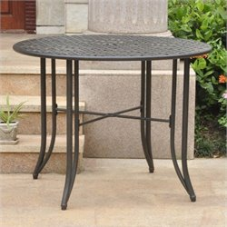International Caravan Mandalay Patio Dining Table in Antique Black
