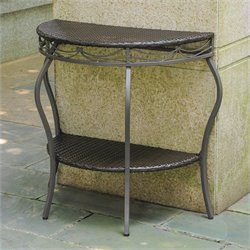 International Caravan Valencia Half Moon Patio Table in Chocolate