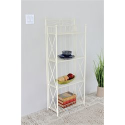 International Caravan Camden 4 Tier Bakers Rack in White