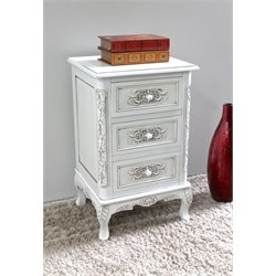 International Caravan Windsor 3 Drawer End Table in Antique White