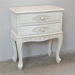 International Caravan Windsor 2 Drawer End Table in Antique White