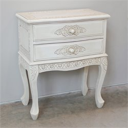 2 Drawer End Table in Antique White