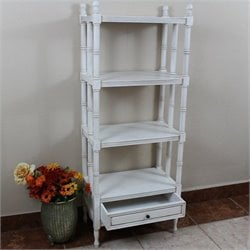 International Caravan Windsor 4 Tier Bookshelf in Antique White