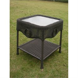 International Caravan Chelsea Patio End Table in Antique Black