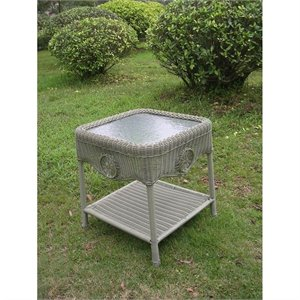 International Caravan Chelsea Glass Top Patio End Table in Moss