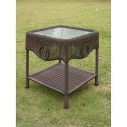 International Caravan Chelsea Patio End Table in Antique Pecan