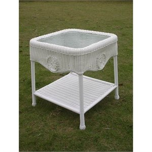 International Caravan Chelsea Glass Top Patio End Table in White