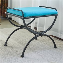 International Caravan Cambridge Indoor Iron Vanity Bench in Aqua Blue