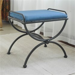 International Caravan Cambridge Indoor Iron Vanity Bench in Indigo