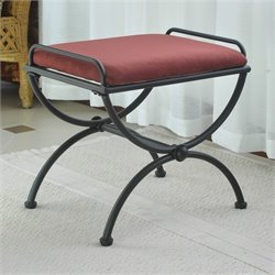 International Caravan Cambridge Indoor Iron Vanity Bench in Red Wine