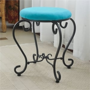 International Caravan Cambridge Round Vanity Stool in Aqua Blue