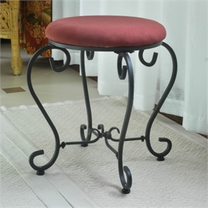 International Caravan Cambridge Round Vanity Stool in Red Wine