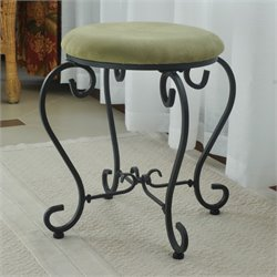 International Caravan Cambridge Round Vanity Stool in Sage
