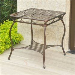 International Caravan Santa Fe Iron Patio End Table in Bronze