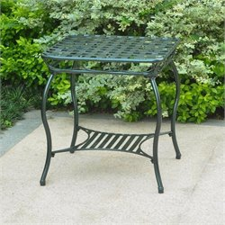 Iron Patio End Table in Verdigris