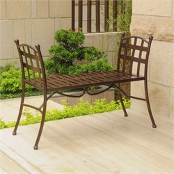 International Caravan Santa Fe Iron Patio Bench in Bronze
