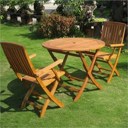 International Caravan Tahiti Balau 3 Pc Patio Bistro Set in Natural