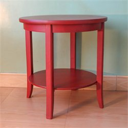 International Caravan Ashbury Round Two Tier End Table in Antique Red