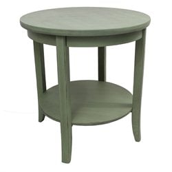 International Caravan Ashbury Round Two Tier End Table in Antique Sage