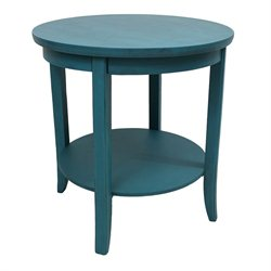 International Caravan Ashbury Round Two Tier End Table in Antique Teal