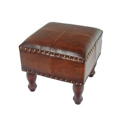 Square Faux Leather Ottoman in Brown