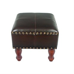 International Caravan Seville Faux Leather Ottoman in Dark Chocolate