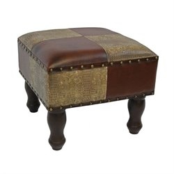 International Caravan Seville Faux Leather Ottoman in Mix Pattern