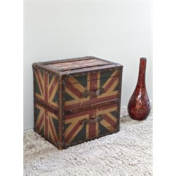 International Caravan Union Jack 2 Drawer End Table in Antique Vintage