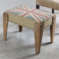 International Caravan Union Jack Upholstered Bench in Antique Vintage