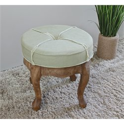 International Caravan Rustic Elegance Round Tufted Ottoman in Sage