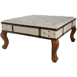 International Caravan Rustic Square Tufted Vanity Bench in Off-White