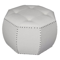 International Caravan Octagonal Tufted Indoor Ottoman in Natural