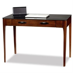 Leick Obsidian Glass Top Writing Desk in Chestnut
